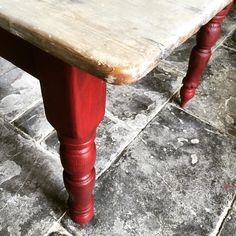 Burgundy table legs and washed top farmhouse kitchen table.