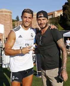 #cristianoronaldo #davidbeckham Cristiano Ronaldo of Real Madrid and former player David Beckham pose after a training session at UCLA Campus on July 29, 2013 in Los Angeles, California.