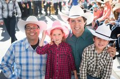 Justin Trudeau and his kids at Calgary Stampede with the Mayor of Calgary