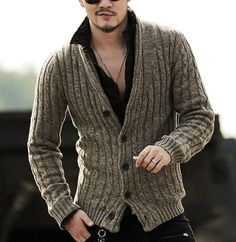 Sweaters & Cardigans - Ribbed Shawl Cardigan