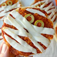 English Muffin Pizzas are easy to make and fun to eat. Both children and adults enjoy these cute Halloween mummies. Vegan and gluten free.