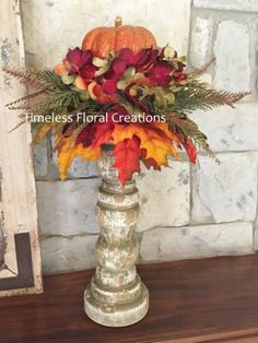 Items similar to Fall Pumpkin Arrangement~Candlestick~Vase~Table decoration~Maple Leaves for Autumn Decorating~Timeless Floral Creations on Etsy Pumpkin Arrangements, Fall Floral Arrangements, Pumpkin Centerpieces, Autumn Decorating, Fall Projects, Thanksgiving Decorations, Fall Decorations, Arte Floral, Fall Flowers