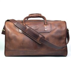 3512426de88b Duffle bag in distressed brown leather Leather Luggage Tags