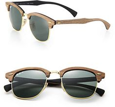 Ray-Ban Wooden 51MM Square Polarized Sunglasses