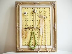 5. Framed Peg Board    How cool! If you have lots of bangles, rings, and hoop earrings, this is one of the fantastic ways for you to display and organize your …