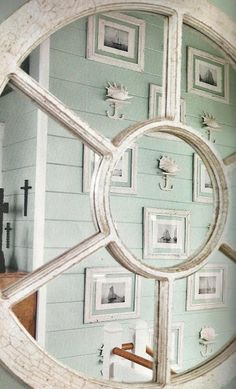 Love the gallery wall, the seafoam planking is gorgeous!