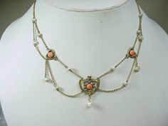 Antique Nouveau Gold Filled Festoon Necklace w Coral & Pearls in Jewelry & Watches, Vintage & Antique Jewelry, Fine | eBay