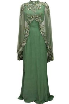 not true Medieval styling, but could modify to make it come close for royalty/nobility.] Green cutout goddess gown with embroidered high low sheer cape available only at Pernia's Pop Up Shop. Abaya Fashion, Muslim Fashion, Modest Fashion, Fashion Dresses, Indian Dresses, Indian Outfits, Muslim Dress, Indian Designer Wear, Anarkali