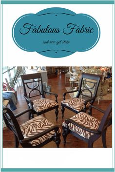 Old chairs get a new look with fabric and Java gel stain. http://thetreasuredhome.com/sacramento-interior-design/new-treasured-home