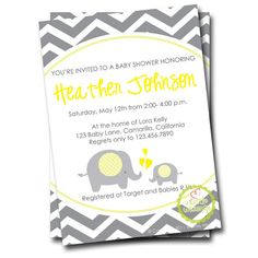 Chevron Yellow & Grey Elephant - Baby Shower Invitation
