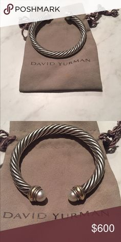 David Yurman Bracelet Cable classics bracelet with pearls and 14k gold. David Yurman Jewelry Bracelets