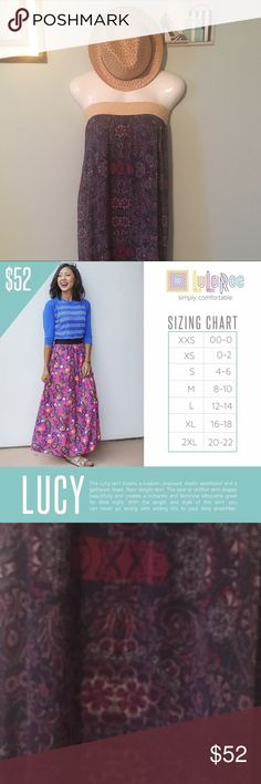 Final Price🎀#LuLaRoe #Lucy #Skirt #Versatile XL #LuLaRoe #Lucy #Skirt #Boho #Versatile NEW XL  Beautiful moody blue background with purple floral and paisley pattern. Cream/ baby yellow elastic waist band. Can be worn high waisted, at waist, as a strapless dress and more. See photos for tips. Never worn! LuLaRoe Skirts Maxi