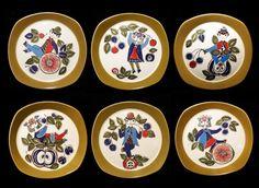 FIGGJO FLINT FOR TURI-DESIGN CORSICA NORWAY VTG. HANDPAINTED SILKSCREEN 6 PLATES (sold)
