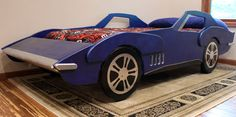 """Make a childs sports car dreams come true with these Carvette bed plans. Includes 75 pages of detailed step-by-step instructions and many helpful pictures. The full size exact car shaped template can be printed on either 32 8 ½"""" by 11"""" or 17 11"""" by 17"""" pages. The front nose is"""
