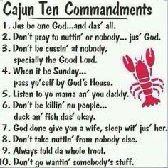 Cajun 10 commandments