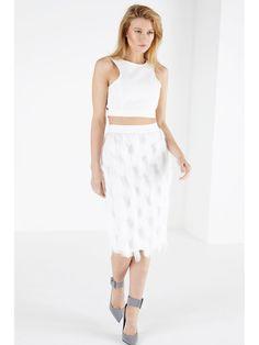White Tassel Pencil Skirt | Women's Clothing | Lavish Alice