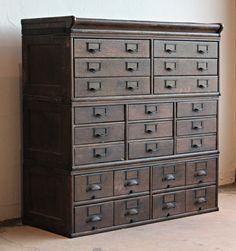 Antique Wooden 23 Drawer Storage Cabinet   Home Lilys design ideas