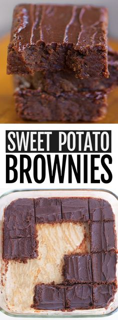 Chocolate Sweet Potato Brownies (Vegan, Healthy, Gluten Free) - These vegan and healthy chocolate sweet potato brownies are easy to make, can be gluten free, and they don't taste like a health food at all! Sweet Potato Brownies Vegan, Sweet Potato Cookies, Sweet Potato Dessert, Vegan Brownie, Brownie Recipes, Vegan Fudge, Vegan Desserts, Just Desserts, Delicious Desserts