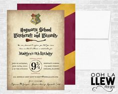 Harry Potter Invitation Harry Potter Birthday Harry by OohLaLlew
