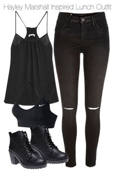"""""""Hayley Marshall Inspired Lunch Outfit"""" by staystronng ❤ liked on Polyvore featuring River Island, Skin, NIKE, Wet Seal, Spring, Lunch, to, Dinner and hayleymarshall"""