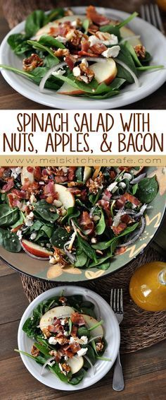 This salad is chock full of everything I love: fresh baby spinach, crisp sweet apple slices, tart dried cranberries, tangy feta cheese, bacon, and delicious sweet and spicy caramelized nuts. The combination rocks | Mel's Kitchen Cafe