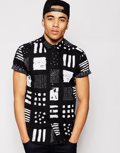 ASOS Shirt In Short Sleeve With Multi Square Print