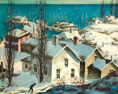 New England Winter Casein Painting by Henry Gasser