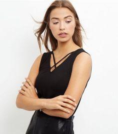Black Cross Front Sleeveless Top | New Look
