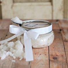 Homemade Christmas gift! Amazing smelling body scrub, made with only 2 ingredients! 1 cup sugar and 1/2 cup coconut oil. Mix well, place inside a pretty little jar with a label. This is heavenly!!