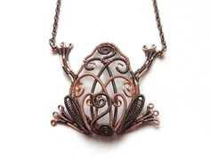 Frog Necklace Wire Wrapped Copper Gunmetal by DragonflyHJewellery