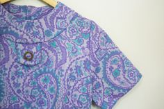 vintage 60s Lavender and Turquoise Paisley Double Knit Dress, $26.00