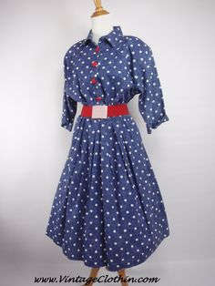 #Sold in store 1980s does 1950s New Looks California Navy Blue and White Polka Dot rockabilly dress with red buttons looked fantastic on its new owner and look forward to seeing you wear it around town.  We appreciate the business, thank you, enjoy the dress.  #happycustomer #gratefulseller #1980sdress #vintagedress #1950sdress  #1950 #1950s  #Dress #vintagedress #vintageclothes #vintageshop #vintagestore #vintageclothing #vintageclothin #vintagewear #vintage    #red #vintageseller…