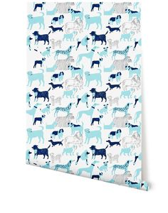 Dog Park (Blue) from Hygge. Also all gray. Wallpaper, $140/roll (27x30). Sample available $5.