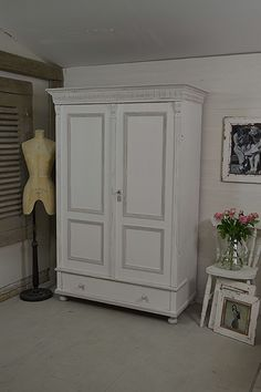 This stunning rustic wardrobe from Holland is painted in Farrow & Ball All White with Cornforth White detailing. We've lightly distressed, for a light and bright rustic feel. https://www.thetreasuretrove.co.uk/bedroom-storage/large-shabby-chic-dutch-wardrobe-2