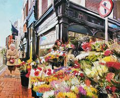 Grafton Street Flowers Painting by Conor McGuire