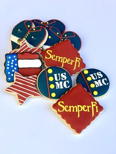 Loved how this Marine themed cookie set turned out! Marine Cake, Marine Mom, Marine Corps, Iced Cookies, Sugar Cookies, Marine Homecoming, Deployment Party, Bakery Ideas, Semper Fi
