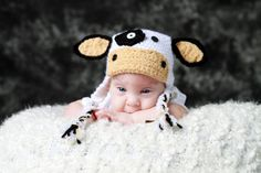 Crochet Cow Hat  Three Piece Outfit  0 to 3 by CraftsbyKrysta, $65.00