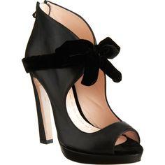 Miu Miu Velvet Bow Boot - Black