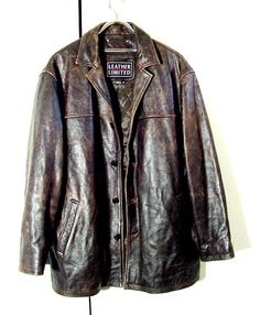 Vtg Distressed Leather Limited Supernatural Dark Brown Button Jacket Sz 2XL | eBay