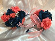 Coral Navy Blue Marine Calla Lily Cascade Wedding Bridal Bouquet Package 21pc