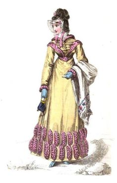 La Belle Assemblee, English Walking Dress, October 1820. I can kinda forgive the folded coffee filter decorations on this dress because I love the colors so, so  much.