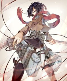 "Details about Anime ""Attack on Titan"" Mikasa Ackerman Full-scale pattern White…"
