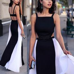 Buy stylish lady women's fashion sexy sleeveless backless hollow out patchwork chiffon maxi long dress full gown from newdress,enjoy discount shopping and fast delivery now. Unique Prom Dresses, Sexy Dresses, Party Dresses, Full Gown, Vestidos Sexy, Chiffon Maxi Dress, Pleated Maxi, Look Fashion, Ideias Fashion