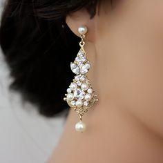 Gold Wedding Earrings Chandelier Earrings Vintage Bridal Earrings Ivory  Pearl crystal Wedding Jewelry, PARIS