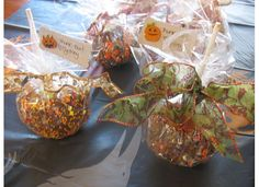 """""""Thank Boo"""" Apples I gave as favors at my daughter's fall Bday party. Apples, To My Daughter, Party Favors, Favors, Sweet Jars, Apple, Boutique Bows"""