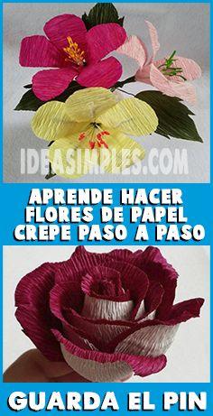 Aprende Hacer Flores De Papel Crepe Muy Fáciles Paso A Paso