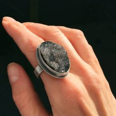 Handmade black druzy ring by Sisters of the Sun®. The druzy crystals shimmer in the light. $189 Etsy jewelry http://etsy.me/1LsoLu7