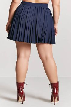 Product Name:Plus Size Accordion Pleated Mini Skirt, Category:plus_size-main, Price:19.9