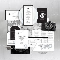 Bring back the glamour of air travel with beautiful wedding stationery perfect for a destination, travel themed or aviation wedding. Shown here in