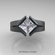 Neomodern 14K Matte Black Gold 1.5 CT Princess White Sapphire Engagement Ring R389-14KMBGWS #kite #modern #neomodern